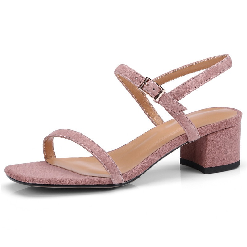 Ericdress Square Toe Block Heel Buckle Casual Sandals