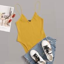 Solid Rib-knit Cami Bodysuit