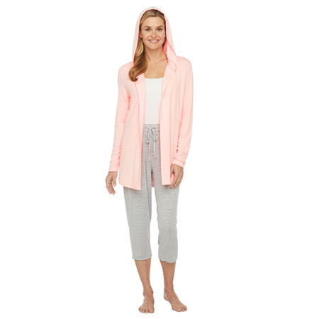 Ambrielle Womens French Terry Pajama Top Hooded Neck, Xx-large , Pink