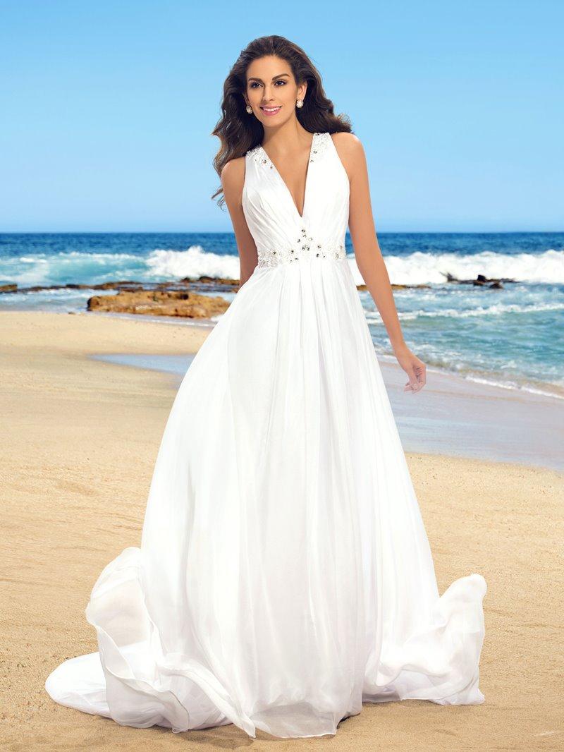 Ericdress V-Neck Button Beading Beach Wedding Dress