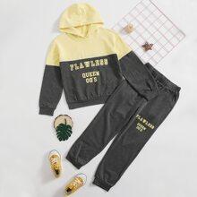 Girls Letter Graphic Colorblock Hoodie & Sweatpants Set