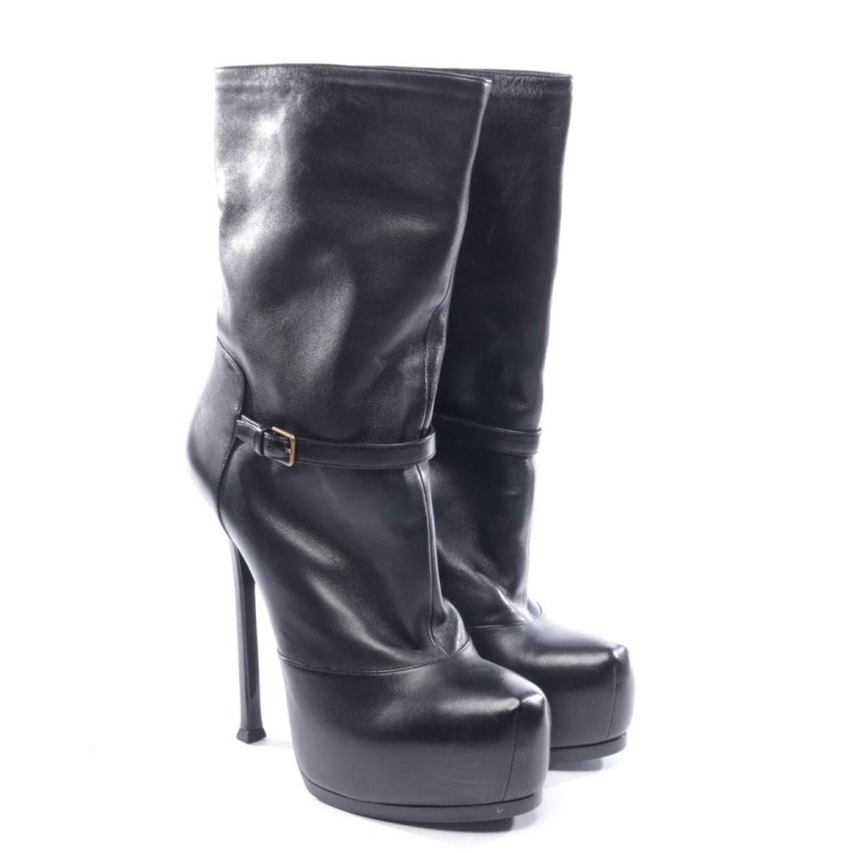 Yves Saint Laurent \N Stiefel in  Schwarz Leder