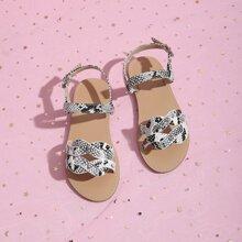 Toddler Girls Snakeskin Graphic Ankle Strap Sandals