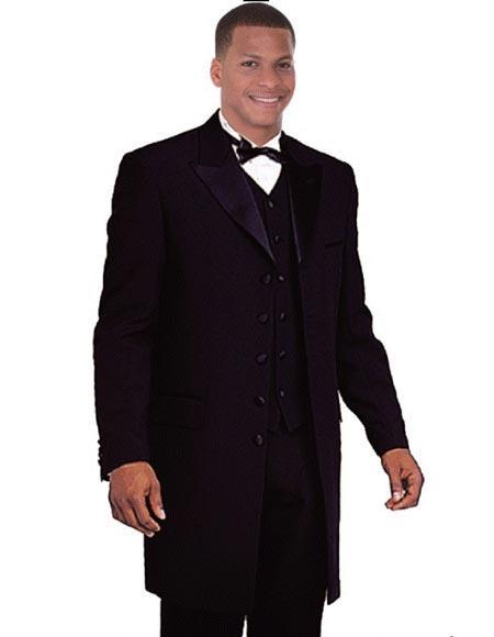 Black Tuxedo Vested Zoot Suit Long Style Fashion Peak Lapel