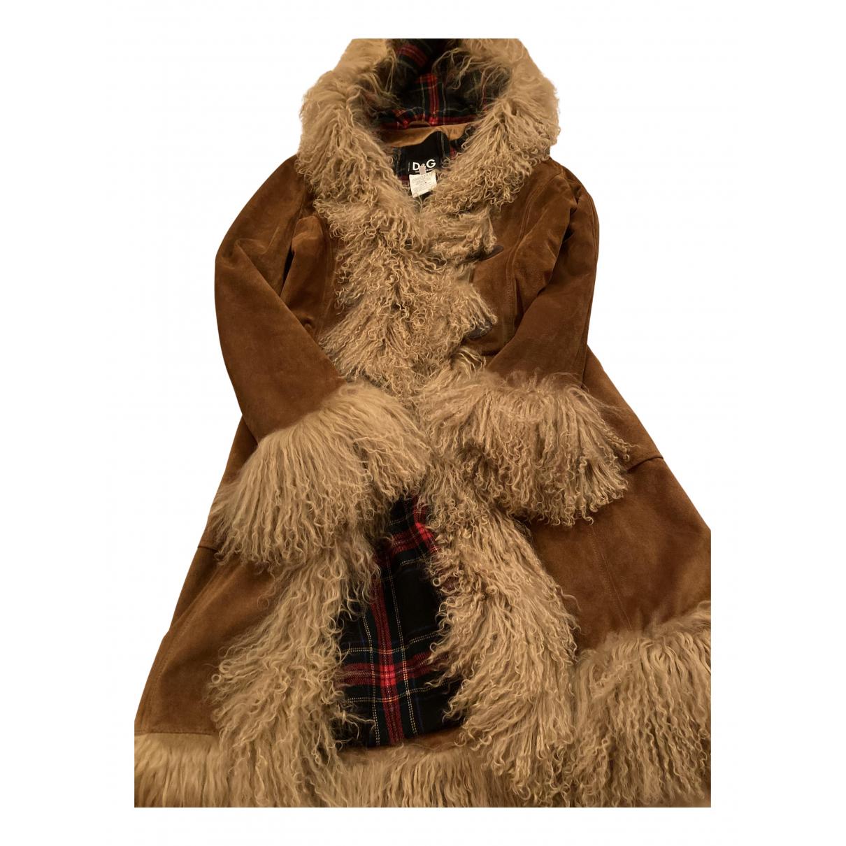D&g - Manteau   pour femme en cuir - camel