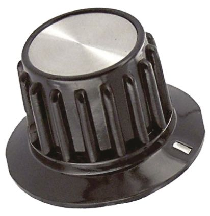 TE Connectivity Potentiometer Knob, Grub Screw Type, 35.1mm Knob Diameter, Black, 6.35mm Shaft
