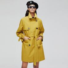 Jazzevar Double Button Flap Pocket Belted Trench Coat