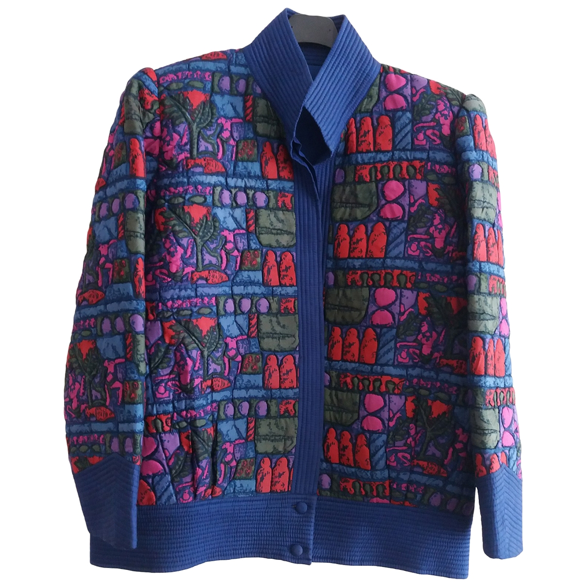 Non Signé / Unsigned Epaulettes Multicolour Silk jacket for Women L International