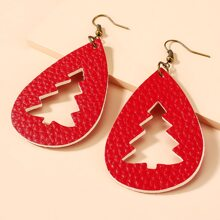 Christmas Tree Water Drop Shaped Drop Earrings
