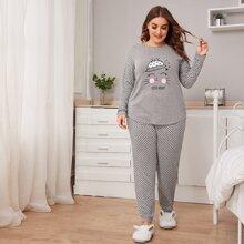Conjunto de pijama top de manga raglan con slogan y dibujo con pantalones - grande