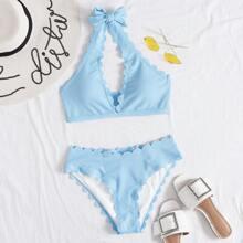 Gerippter Bikini Badeanzug mit Bogenkante und Neckholder