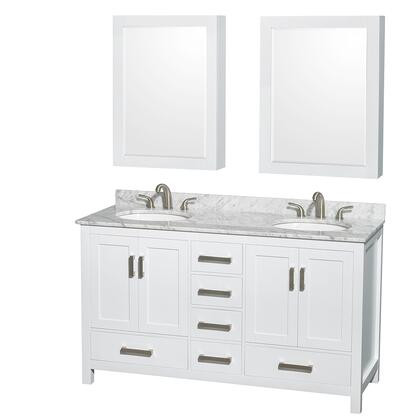 WCS141460DWHCMUNOMED 60 in. Double Bathroom Vanity in White  White Carrera Marble Countertop  Undermount Oval Sinks  and Medicine