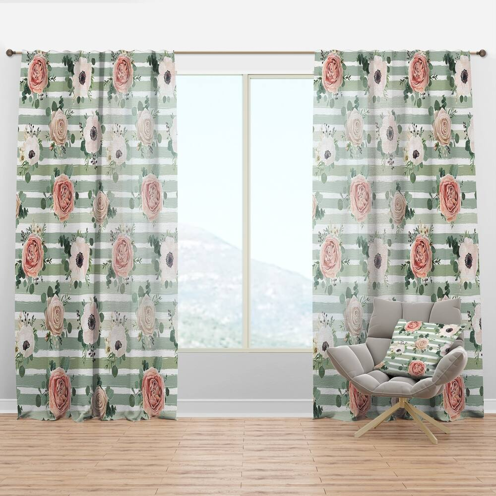 Designart 'Floral Retro Pattern V' Mid-Century Modern Curtain Panel (50 in. wide x 90 in. high - 1 Panel)
