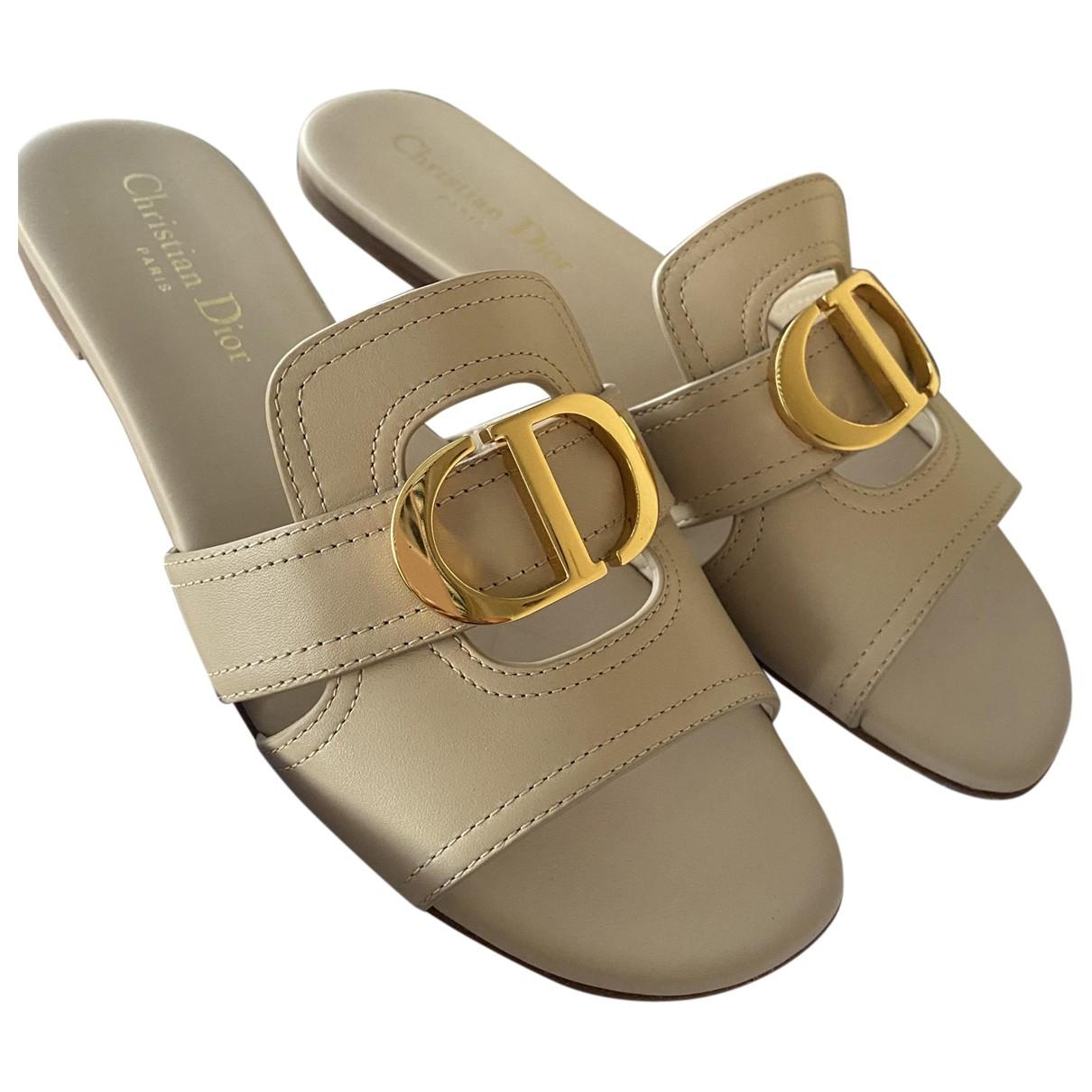 Dior \N Beige Leather Sandals for Women 37 EU