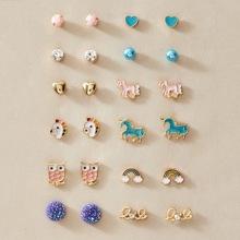 12pairs Toddler Girls Unicorn & Rainbow Design Stud Earrings