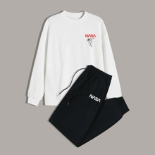 Guys Letter Graphic Sweatshirt & Drawstring Pants