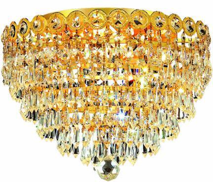 V1902F14G/EC 1902 Century Collection Flush Mount D:14In H:10In Lt:4 Gold Finish (Elegant Cut