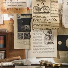24 Stuecke Zufaelliges Kraftpapier mit Vintage Muster & 1 Stueck Aufkleber