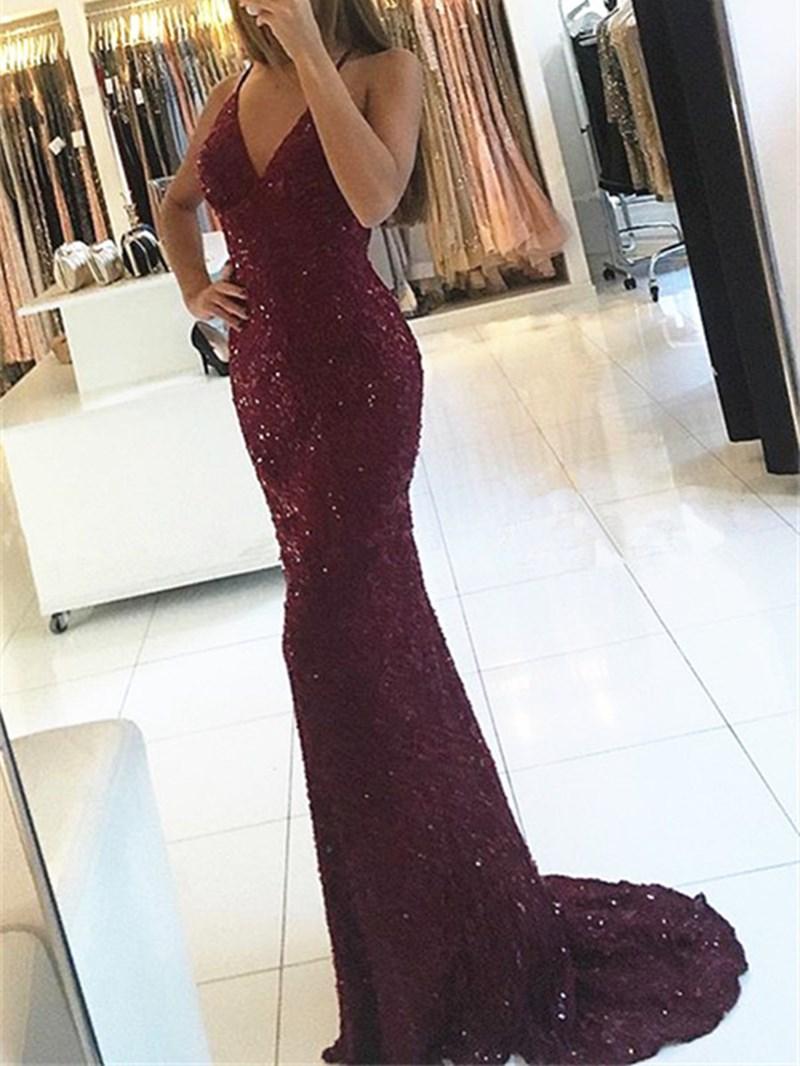 Ericdress Halter V Neck Backless Sequin Mermaid Evening Dress