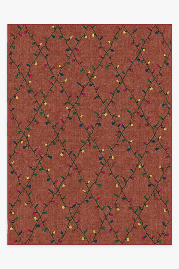 Washable Rug Cover & Pad | Holiday Lights Red Rug | Stain-Resistant | Ruggable | 9'x12'