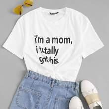 T-Shirt mit Buchstaben Muster und kurzen Ärmeln