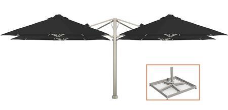 KITP6SQ30QTOPBBLK (A) SU6 Quattro 910/3m Square Umbrella with Portable Base in Black