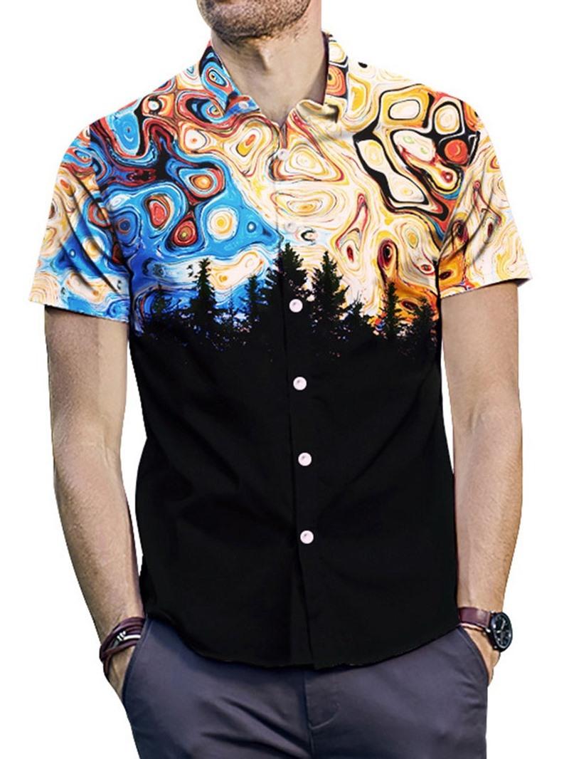 Ericdress Lapel Print Fashion Loose Mens Single-Breasted Shirt