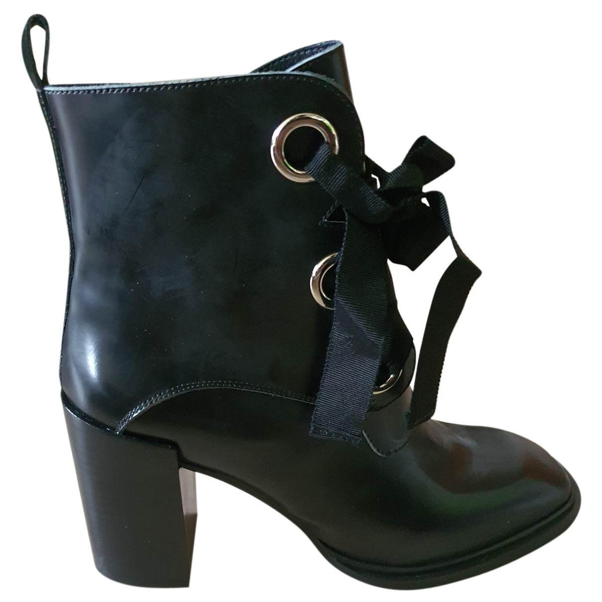 Jeffrey Campbell N Black Leather Boots for Women 39 EU