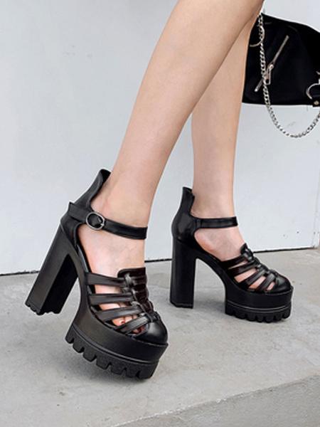 Milanoo Women Sexy High Heels Black Round Toe Chunky Platform PU Sexy Shoes