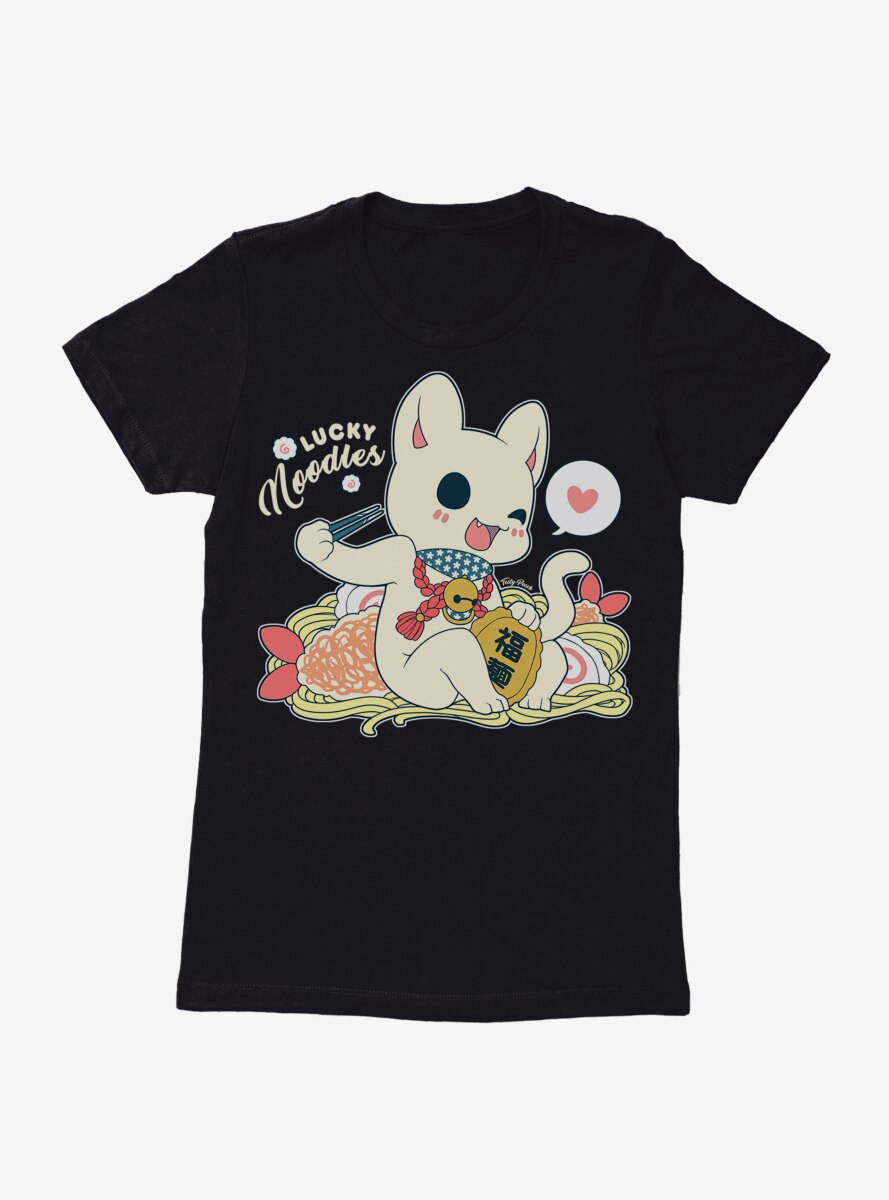 Tasty Peach Lucky Udon Noodle Cat Womens T-Shirt