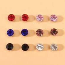 6pairs Men Rhinestone Decor Stud Earrings