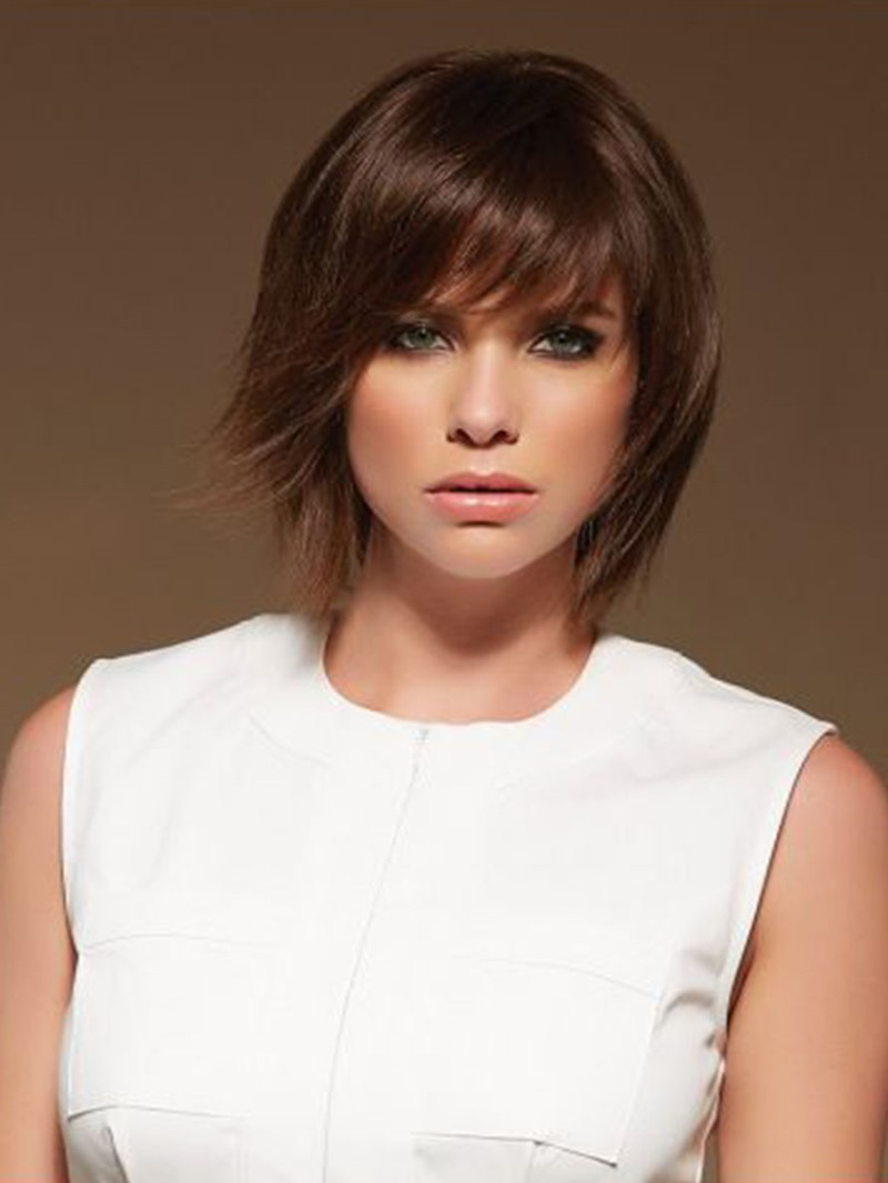 Ericdress Women's Short Layered Hairstyles Straight Synthetic Hair Wigs With Bangs Capless Wigs 10Inch