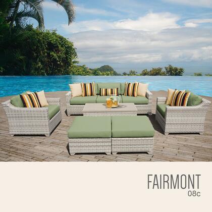 FAIRMONT-08c-CILANTRO Fairmont 8 Piece Outdoor Wicker Patio Furniture Set 08c with 2 Covers: Beige and