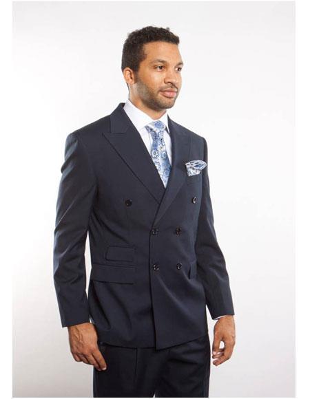 Men's Navy Blue Peak Lapel Double Breasted Button Closure Suit