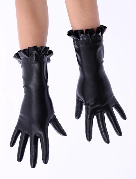 Milanoo Disfraz Halloween Negro con volantes de corte guantes de latex  Halloween