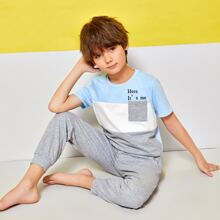 Boys Colorblock Pocket Front Letter Graphic Top & Pants PJ Set