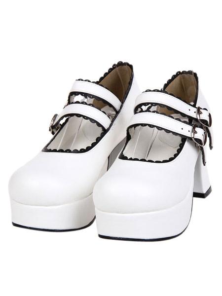 Milanoo Elegant White Round Toe PU Leather Platform Lolita Shoes