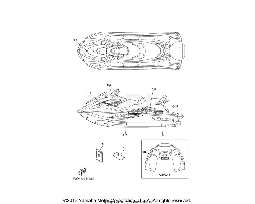 Yamaha OEM F2P-U417G-10-00 GRAPHIC 6 (RH) | CRUISER GRAY