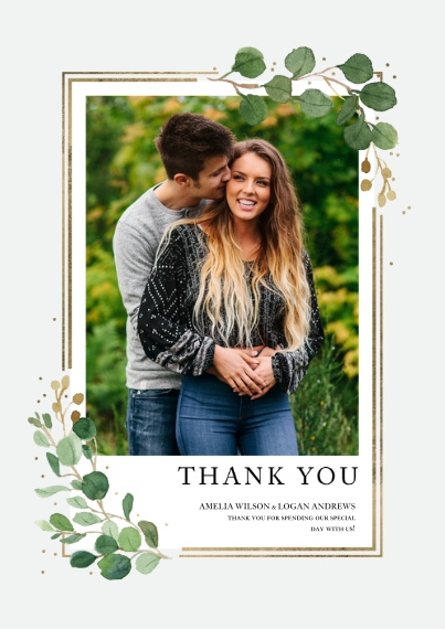Wedding Thank You 5x7 Cards, Premium Cardstock 120lb with Rounded Corners, Card & Stationery -Wedding Thank You Eucalyptus Border by Tumbalina