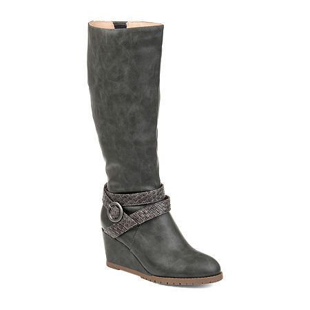 Journee Collection Womens Garin Extra Wide Calf Dress Zip Boots Wedge Heel, 8 1/2 Medium, Gray