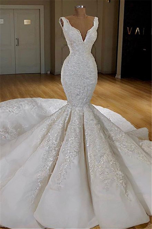 BMbridal Elegant Straps Sleeveless White Wedding Dresses Mermaid Satin Bridal Gowns With Appliques Online