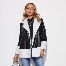 Contrast Faux Shearling Double-breasted PU Leather Coat