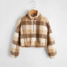 Sweatshirt mit Karo Muster und sehr tief angesetzter Schulterpartie