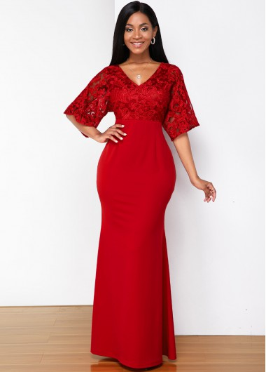 Christmas Rosewe Red V Neck Butterfly Sleeve Mermaid Hem Maxi Elegant Evening Party Holiday Dress Xmas Solid Color Lace Half Sleeve Dress V Neck - XL
