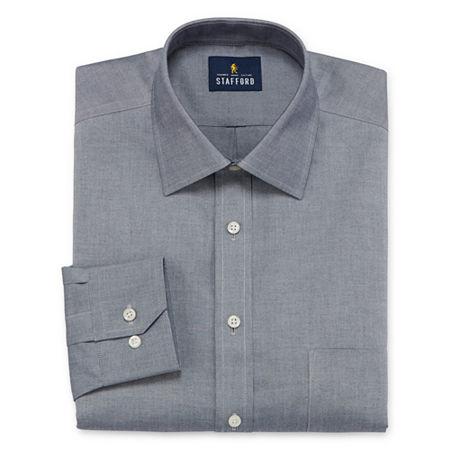 Stafford Executive Non-Iron Cotton Pinpoint Oxford Mens Spread Collar Long Sleeve Stretch Dress Shirt, 17 36-37, Gray