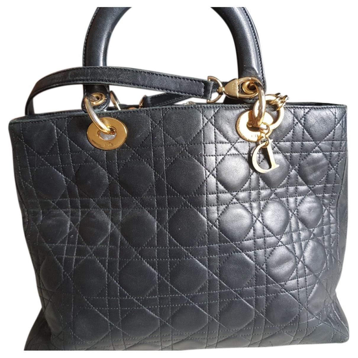 Dior - Sac a main Lady Dior pour femme en cuir - noir