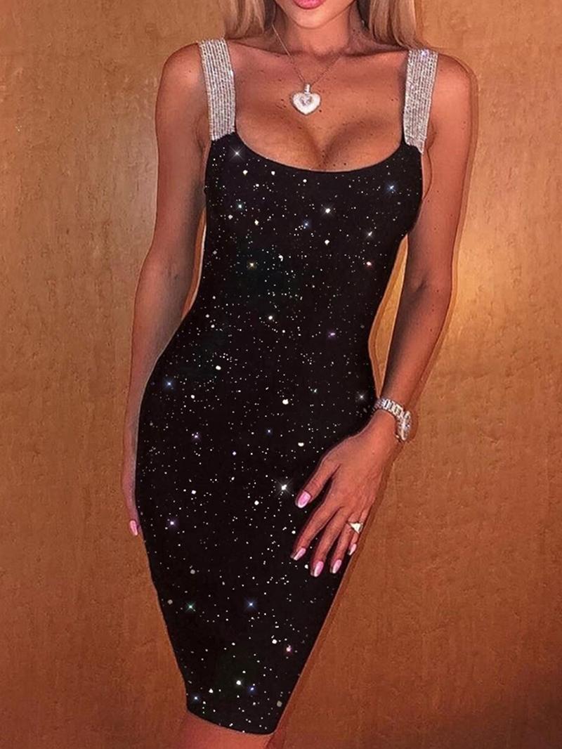 Ericdress Sequins Sleeveless Above Knee Women's Pullover Dress