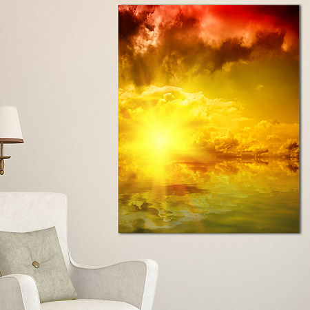 Designart Red Dramatic Sky With Yellow Sun Canvas Art, One Size , Blue