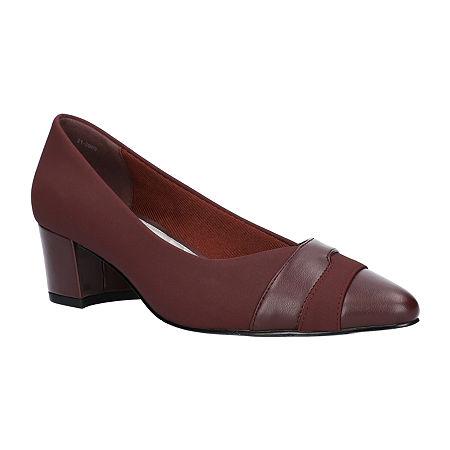 Easy Street Womens Elle Pumps Block Heel, 8 Wide, Red