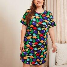 Plus All Over Dinosaur Print Night Dress